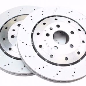 AUDI R8 REAR 356MM PUNCHED BRAKE DISCS PAIR 420615601F NEW GENUINE